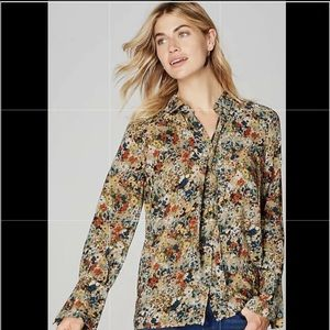 J. Jill Floral Wheat Floral Blouse Removable Tie